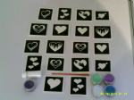 Heart glitter tattoo set including stencils + 5 pots of color +  glue   girls children Valentines
